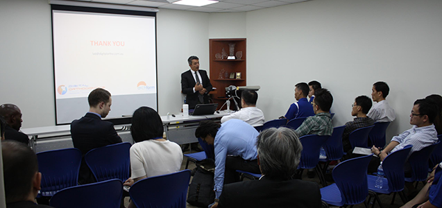 Director of Digital Orthodontics, Ari Sciacca giving a talk in Singapore